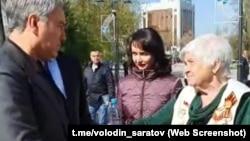 Фрагмент видеотрансляции прогулки Вячеслава Володина по Саратову