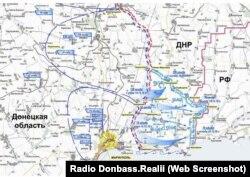 А такую карту наступления ВСУ, которое якобы должно было начаться вскоре, группировка «ДНР» публиковала еще в 2018 году
