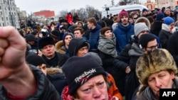 Алексей Навальный тарафдарларының протест чарасы (архив фотосы)