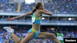 Ольга Рыпакова на состязаниях в тройном прыжке. Рио-де-Жанейро, 14 августа 2016 года.