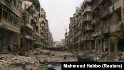 Սիրիա -- Հալեպի Սալահ Ալ-Դին թաղամասը ռմբակոծությունից հետո, արխիվ