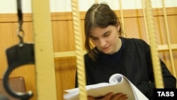 Yekaterina Samutsevich, a member of the punk band Pussy Riot, appears in Tagansky District Court, Moscow.