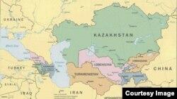 Страны Кавказа и Центральной Азии на карте мира.