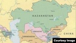 Орталық Азия аймағы елдерінің картасы (Көрнекі сурет).