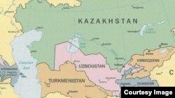 Орталық Азиядағы бес ел - Қазақстан, Қырғызстан, Өзбекстан, Тәжікстан және Түркіменстанның картасы (Көрнекі сурет).