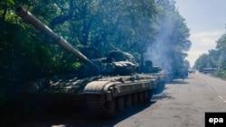 Расейскія танкі пад Горлаўкай, фота 20.06.2014