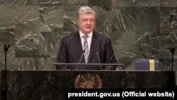 Украина президент Петр Порошенко БҰҰ Бас Ассамблеясының отырысында. Нью-Йорк, 20 ақпан 2019 жыл.