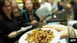 بشقاب حشرات در حال عرضه به مشتریان در رستورانی در نیویورک