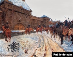 Моңгол-татарлар Владимир шаарынын алдында. В.Максимовдун сүрөтү.