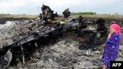 Lokalna stanovnica stoji među olupinama na mjestu nesreće MH17, 19. jula 2014. (Foto: AFP)