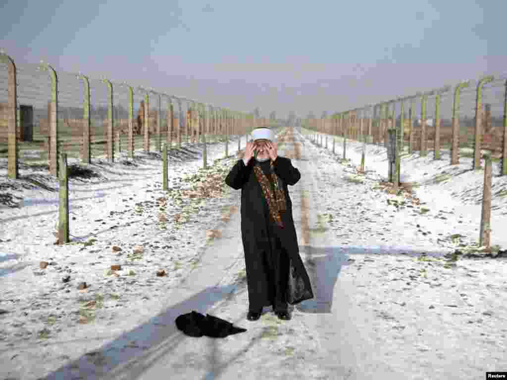 Grand Mufti of Bosnia Mustafa Ceric visits the former Nazi death camp at Auschwitz-Birkenau in southern Poland, where prominent Muslims joined Jews and Christians on February 1 in a gesture of solidarity against Holocaust deniers. (Reuters/Michal Lepecki)