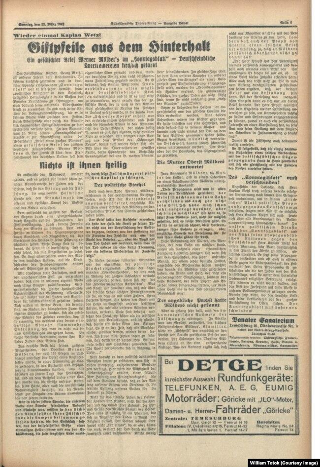 Südostdeutsche Tageszeitung, 22.3.1942