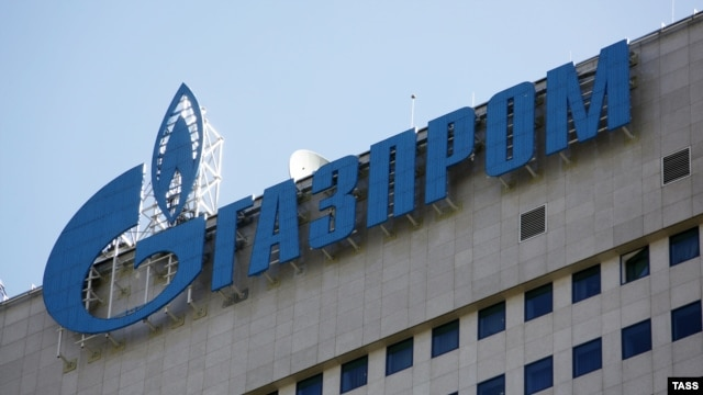 Russia -- Gazprom logo seen on the central office of Gazprom Company in Moscow, 29Apr2010.
