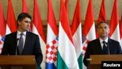 Premierul Ungariei, Vikto Orban, și președintele croat Zoran Milanović