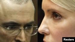 Михаил Ходорковский мен Юлия Тимошенконың фотосуреттерінен коллаж.