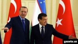 Президент Турции Реджеп Эрдоган (слева) и исполняющий обязанности президента Узбекистана Шавкат Мирзиёев, 18 ноября 2016