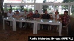Прес конференција на Синдикатот на Македонската опера и балет и на Синдикатот на Македонската филхармонија во Скопје.