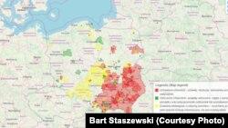 Мапа Польшчы з зазначанымі чырвоным колерам тэрыторыямі «свабоднымі ад ЛГБТ»