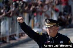 Șeful poliției din Houston, Art Acevedo la funeraliile lui George Floyd, 8 iunie 2020.
