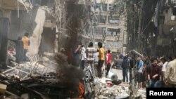 Алеппонун козголоңчулар колундагы Бустан ал-Каср району. 28-апрель, 2016-жыл.