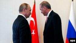Vladimir Putin və Recep Tayyip Erdoğan Sankt Peterburq görüşü zamanı