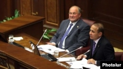 Armenia -- Speaker Hovik Abrahamian (R) chairs a parliament session, 23May2011.