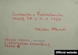Semnătura lui Havel pe Charta 77