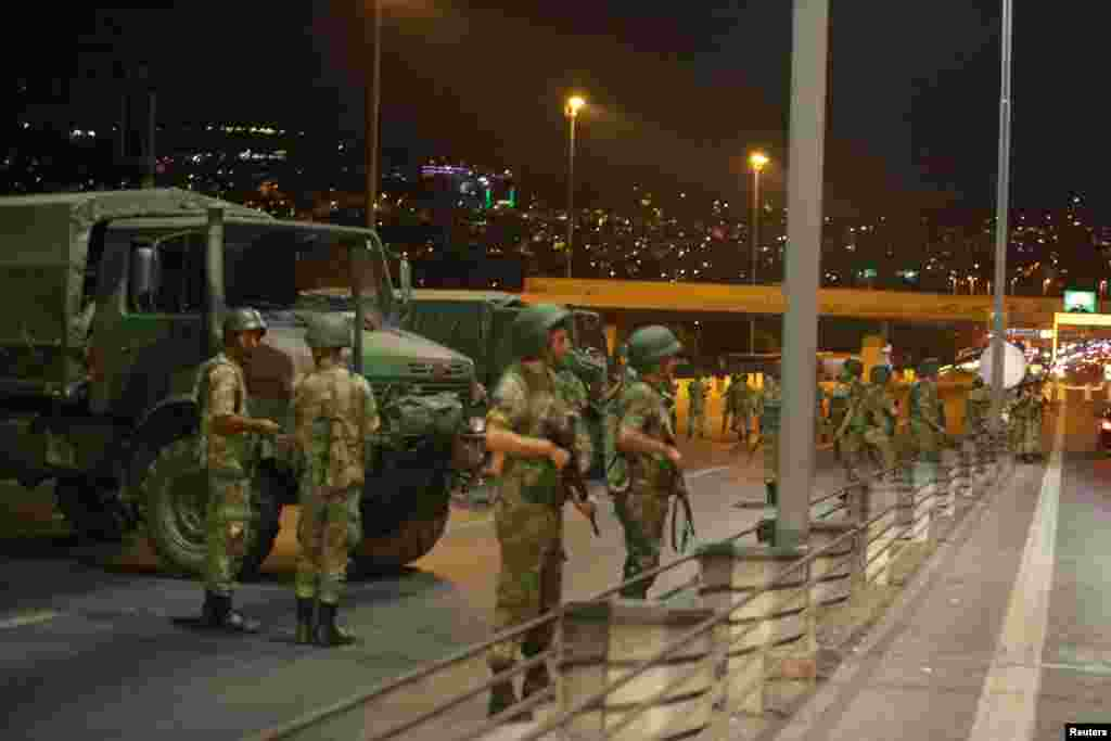 At  around 7:30 p.m. on July 15, members of the Turkish military blocked access to the Bosphorus bridge, which links Istanbul's European and Asian sides.