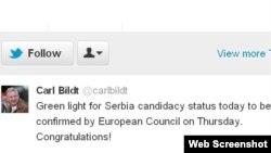 Poruka Karla Bilta na tviteru, 28. februar 2012.