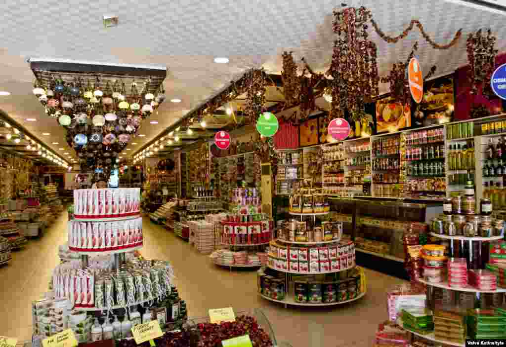 One of the many sparkling souvenir shops clustered around the hotels that Russian tourists frequent.
