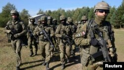 Польські солдати беруть участь у військових навчаннях у селі Яворів, що поблизу Львова. Вересень 2014 року