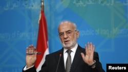Iraq -- Iraqi Foreign Minister Ibrahim al-Jaafari speaks to reporters during a news conference in Baghdad, Iraq December 30, 2015.