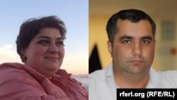 Composite photo of RFE/RL Azerbaijani service journalists Khadija Ismayilova and Yafez Hasanov