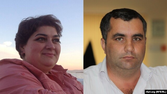 Composite photo of RFE/RL Azerbaijani service journalists Khadija Ismayilova and Yafez Hasanov