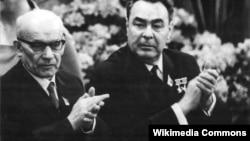 Владислав Гомулка и Леонид Брежнев на встрече в Восточной Германии