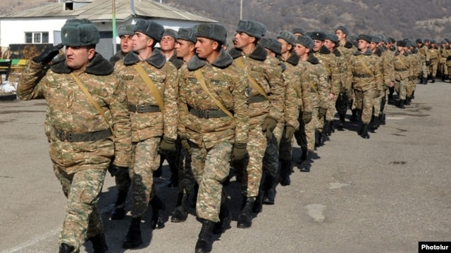 Armenia - Soldiers march at a military base in Tavush, 12Feb2014.