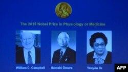 Лауреаты Нобелевской премии по медицине в 2015 году ученые Уильям Кэмпбелл (слева), Сатоши Омура (в центре) и Ту Юю.