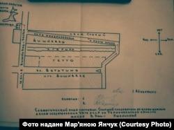 Схематичне зображення вишнівецького гетто, з матеріалів справи Івана Шаповала