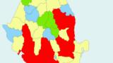 Harta alegerilor: PSD- roșu, PNL- galben, USR-PLUS - albastru, UDMR - verde.