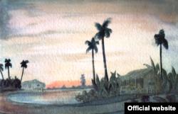 În noul port de la Singapore, aquarelă de Siegfried Wagner