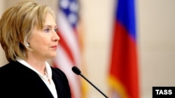 "U.S. Secretary of State Hillary Clinton at a town-hall-style meeting at Moscow State University: ""Our goal is to be as cooperative as we can."""