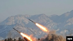An undated photo made available by North Korea in January 2009 shows the launch of missiles