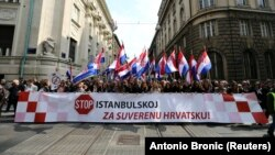 Protestuesit në Kroaci tregojnë kundërshtinë e tyre për ratifikimin e Konventës së Stambollit