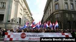 Marchers at the protest against the ratification of the Istanbul Convention in Zagreb on March 24.
