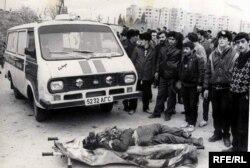 Bakıda Sovet ordusunun öldürdüyü dinc sakinlər. 20 yanvar 1990