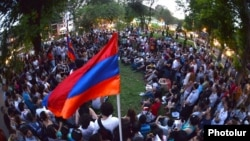 Armenia - Youth activists meet in a Yerevan park to discuss their campaign against higher transport fares, 24Jul2013.