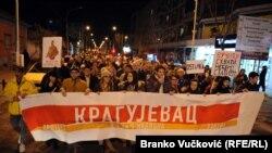 La o demonstrație anti-prezidențială în localitatea Kragujevac