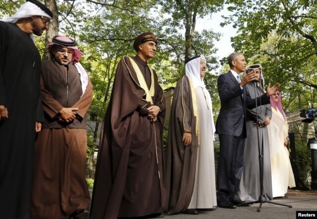 U.S. President Barack Obama speaks after hosting a working session of the six-nation Gulf Cooperation Council (GCC) at Camp David in Maryland on May 14.