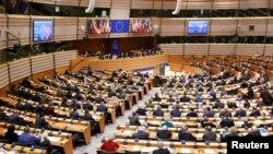 Зал заседаний Европейского парламента в Брюсселе.