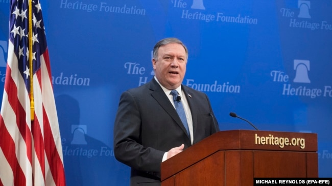 US Secretary of State Mike Pompeo delivers remarks on 'After the Deal - A New Iran Strategy', at the Heritage Foundation in Washington, DC, 21 May 2018.